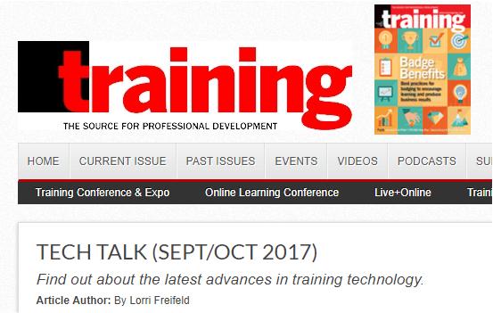 training magazine Tech Talk sept/oct 2017
